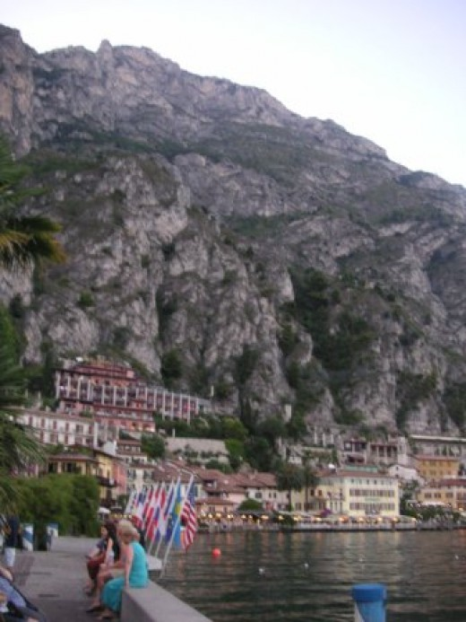 A part of the City Limone on the steep Dolomites rocks