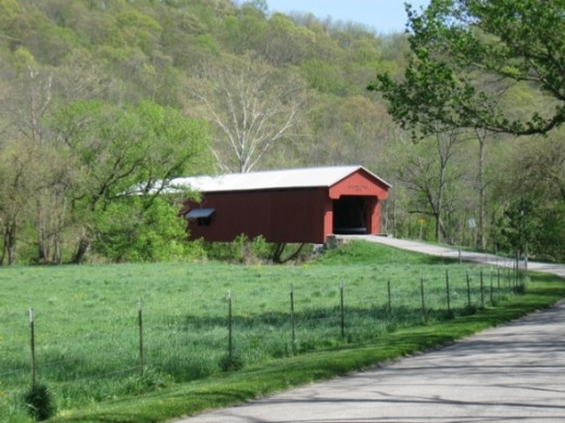 The covered bridge leading to Versailles State Park