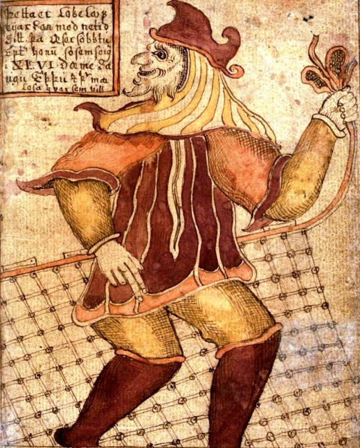 Loki as depicted on an 18th-century Icelandic manuscript