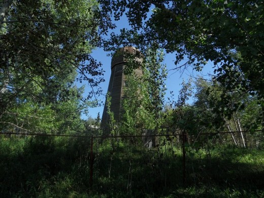 An old windmill or wind powered grist mill still being restored but belongs with the fort.