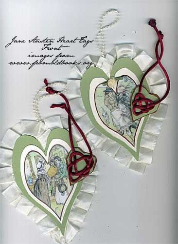 Jane Austen Heart Shaped Tags for Valentines Day