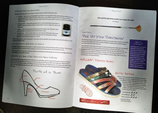 Sassy Feet teaches you shoe painting basics, including how to prep them for painting and which paints, brushes, and sealer to use. Ditto for handbags, belts, etc.