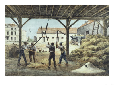 "Threshing Corn, Illustration from a School Textbook ""Enseignement Par Les Yeux"""