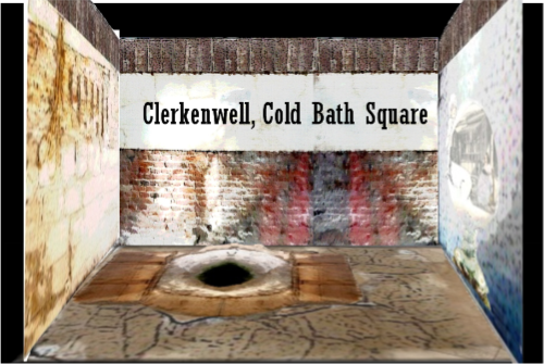 It's found in the 'lower reaches' of Cold Bath Square.