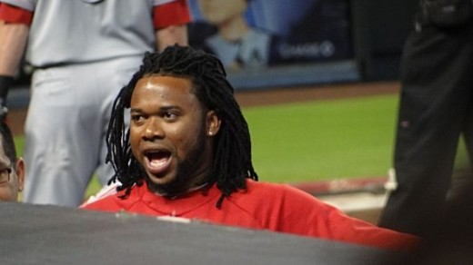 Johnny Cueto Talking to the Fans