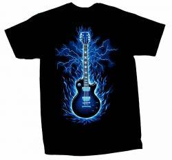 Guitar T-Shirt Blue Flaming Guitar
