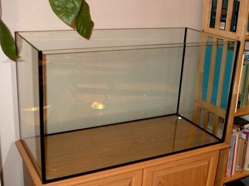 Make sure the aquarium fits the base. It is important for the integrity of the tank that it doesn't hang over the edge of the base.