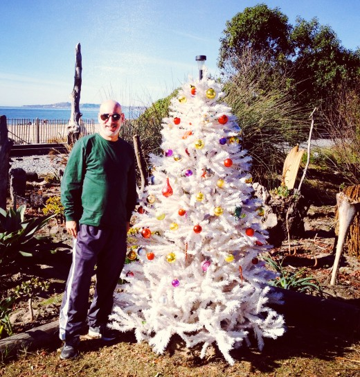 Me and a Christmas tree on a beach in the Central Coast of California.