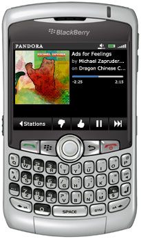 The Pandora Blackberry app has many of the same functions as the normal Pandora web site