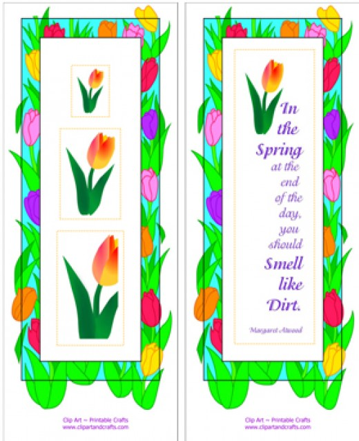 Spring tulips bookmark sheet