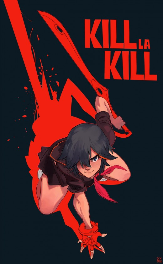 This piece was drawn by pixmilk on DeviantArt Ryuko Matoi © Trigger