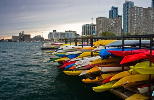 A kayak rack at Toronto's Harbourfront
