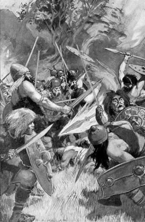Illustration of Lugh's magic spear by H.R.Millar, published in Celtic Myth and Legend by Charles Squire