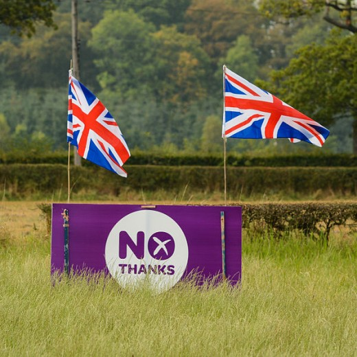 A no Campaign banner with  the union flag