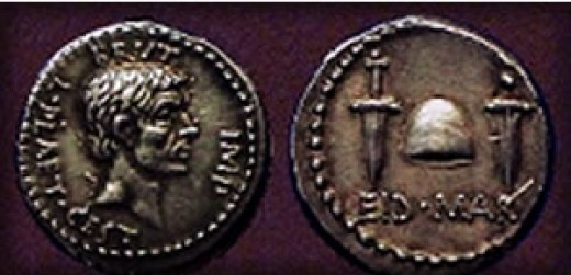 This was a coin cast by Brutus, commemorating the Ides of March.