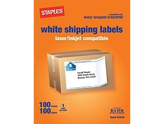 Staples Ink Jet/Laser 8 1/2x 11 Sheet Labels