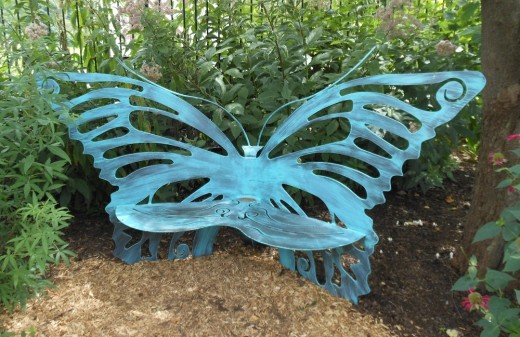Butterfly benches are throughout the gardens.