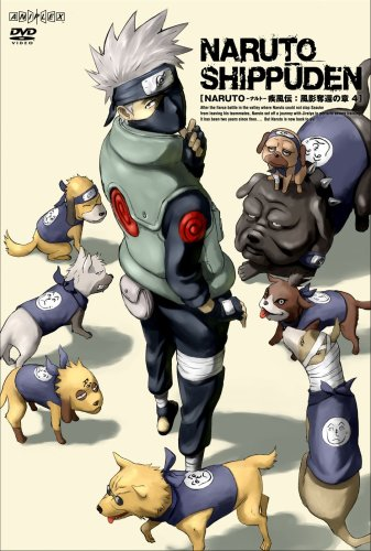 Hatake Kakashi with his summoned dogs.