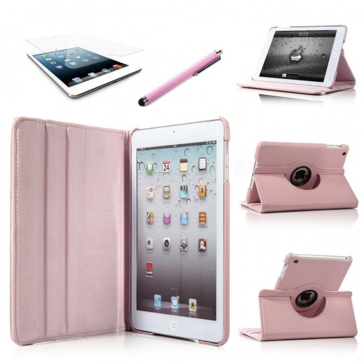 360 Degrees Slim Rotating Stand Leather Case Cover for Apple iPad mini --