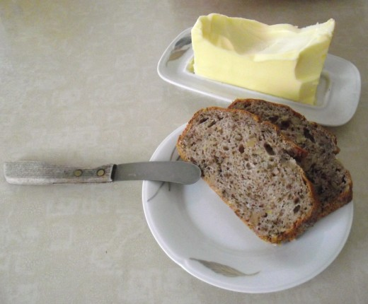 Butter and banana bread.