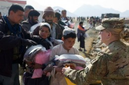 The Army delivering food in Afghanisan.
