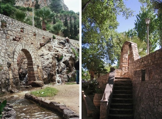 The yard of a little outdoor cafe was right near the tunnel exit. Nearby are the 957 steps up to Palamidi castle.