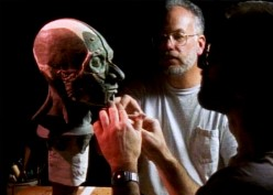 Chatters (right) works on a facial reconstruction of Kennewick Man