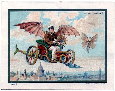 Steampunk flying machine. Link provided below to download this fun image. Courtesy of The Graphics Fairy.