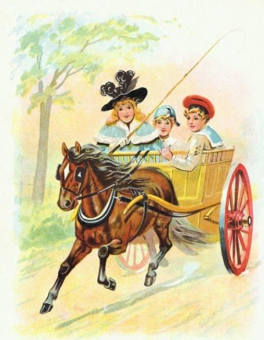 This horse is pulling a cart with two children out for a joy ride. See the link below to download this image.Courtesy of Reusable Art.