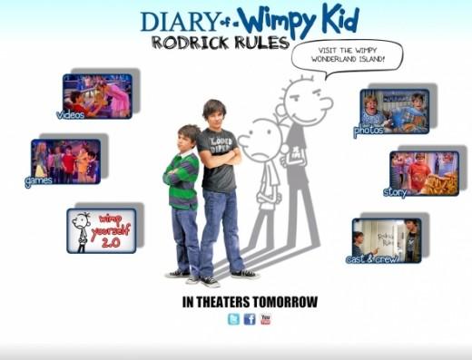 Diary of a Wimpy Kid 2 Rodrick Rules Website Screenshot