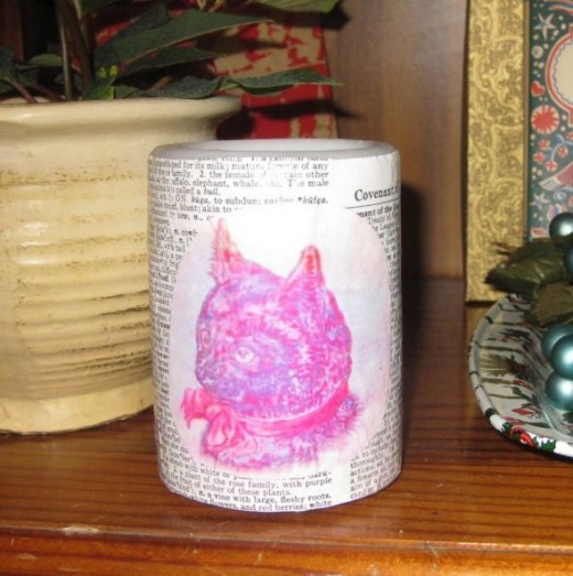 Use dictionary pages plus other clip art to decorate flameless candles.