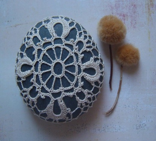 Lace Crafts include lace covered rocks. Photo Credit:  Monicaj on Etsy.