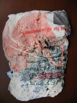 "The reverse of the ""canvas"" showing the plastic bags."