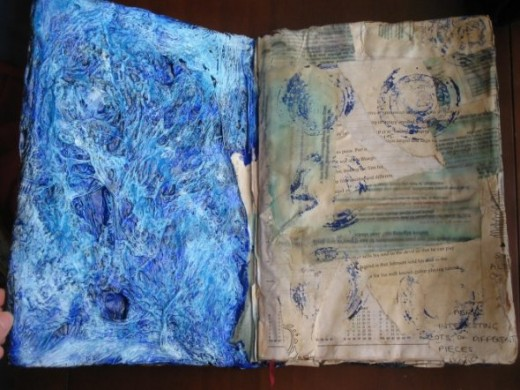 The inside cover - I wanted it to look like ocean.