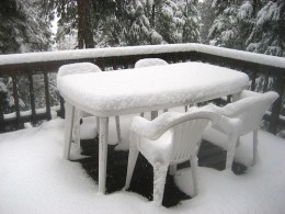 Store your outdoor dining furniture to maximize its life.  Image courtesy of http://www.flickr.com/photos/tomeppy/