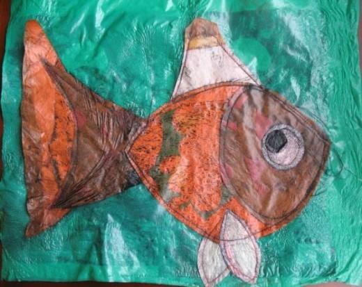 Fused Plastic Fish Collage