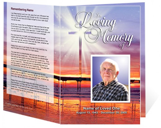 A Sample of a funeral program template from The Funeral Program Site's faith based theme collection.