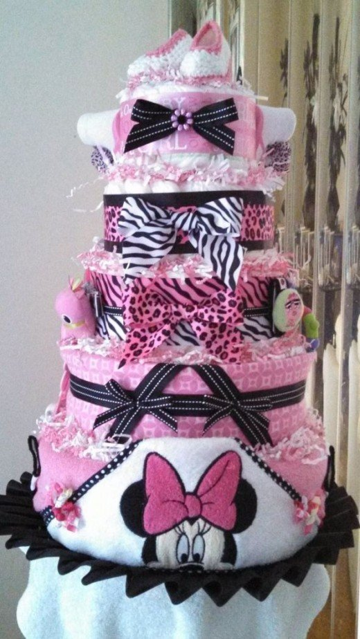 Minnie Mouse Baby Shower Washcloth Cake
