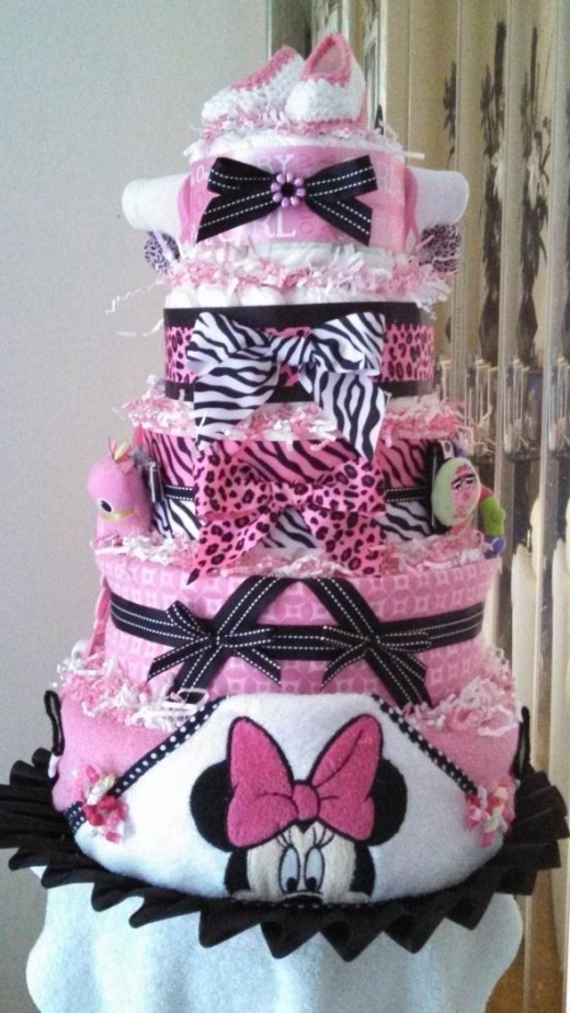 minnie mouse diaper cake washcloth cake centerpiece