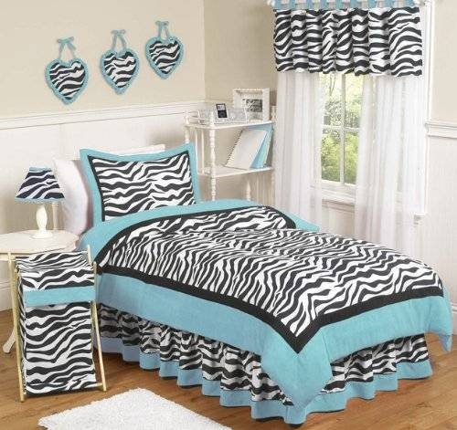 Turquoise Funky Zebra Childrens Bedding