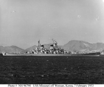 USS Missouri Battleship In Korea - 7 February 1953