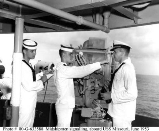 Naval Academy Midshipmen practice sending and receiving messages