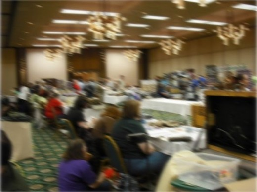 Fans in a convention dealers room. Image blurred to protect attendees' privacy.