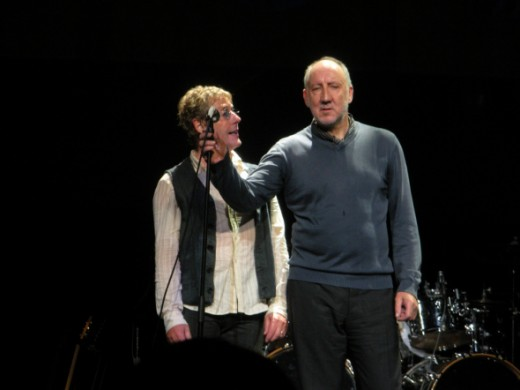 Roger Daltrey and Pete Townshend on stage with The Who
