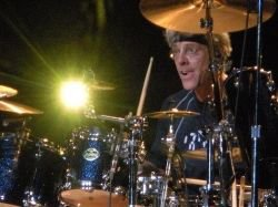 Stewart Copeland behind his chariot - I mean drumkit!