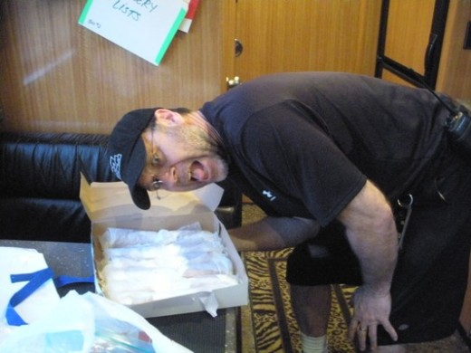 Jeff Seitz checks out a special Philly delivery. Om nom nom!