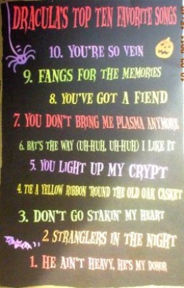 Dracula's Top 10 Favorite Songs