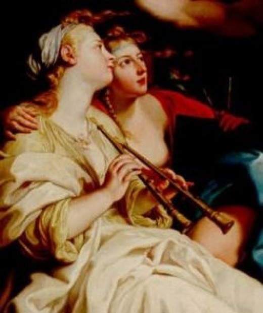 The Muse Euterpe with her double flute
