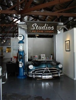 Car front at entrance to Studios on the Park in Paso Robles