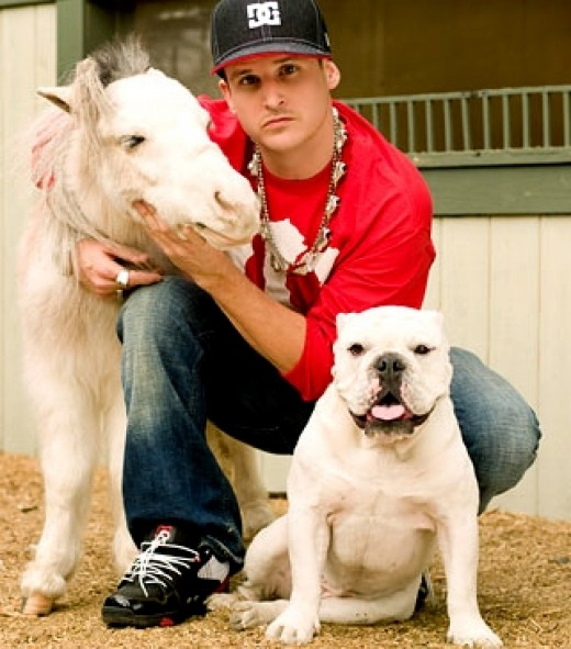 Rob with his mini horse and dog